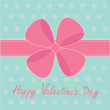 Big pink gift bow and ribbon. Happy Valentines Day Stock Photography