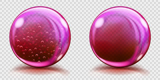 Big pink glass spheres with air bubbles and without. Two big pink glass spheres with air bubbles and without, and with glares and shadows. Transparency only in Stock Images