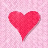 Big Pink Heart Card with Light Pattern Royalty Free Stock Image