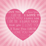 Big pink heart i love you lettering light background Stock Photos