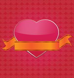 Big pink heart with ribbon on heart pattern Royalty Free Stock Photography