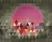 Big pink hexagon is on center of gray triangles background Stock Photography