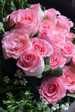 Big Pink Rose Flower Bouquet. Wedding Rose Bouquet Gift Stock Photo