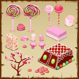 Big pink set of candies and different sweets Royalty Free Stock Photography