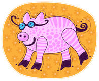 Big pink smiling pig Royalty Free Stock Photos