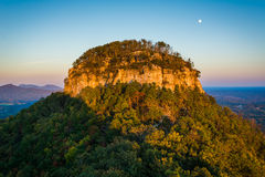 The Big Pinnacle of Pilot Mountain, seen at sunset from Little P. Innacle Overlook at Pilot Mountain State Park, North Carolina stock photo