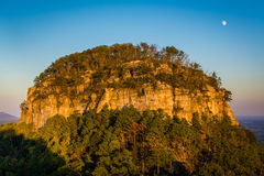 The Big Pinnacle of Pilot Mountain, seen at sunset from Little P. Innacle Overlook at Pilot Mountain State Park, North Carolina royalty free stock image