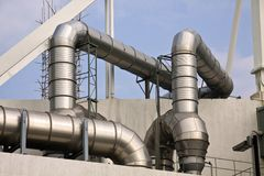 Big Pipes. On a factory Stock Photography