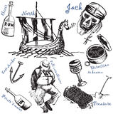 Big pirattes collection 3. Jpeg and vector picture with pirate theme Royalty Free Stock Image