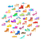 Big pixel art set, 40 different types of woman's shoes stock image