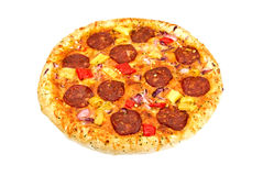 A big pizza with cheese,salami,tomatoes Royalty Free Stock Photography