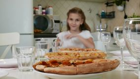 Big pizza with Cute Little Kid Girl stock footage