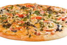 Big pizza with forest mushrooms Royalty Free Stock Images