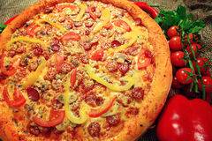 Big pizza texture Royalty Free Stock Photo