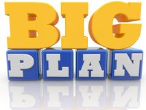 Big plan concept on blue color cubes on white background. In background stock illustration