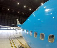 Big plane inside hangar Stock Photo