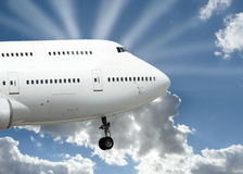 Big plane landing Stock Photo