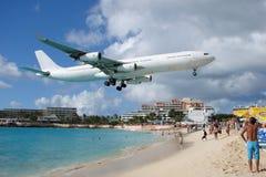 Big plane in Maho Bay, St.Maarten, Philipsburg. Stock Photography