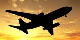 Big plane over sunset stock photo