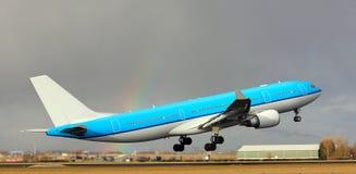 Big plane takes off Stock Photo