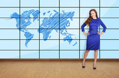 Big plasma with map Royalty Free Stock Images