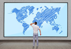 Big plasma with world map Stock Image