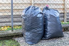 Big Plastic Bin Bags of Rubbish Stock Photography