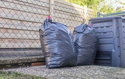 Big Plastic Bin Bags of Rubbish Stock Image