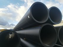 Big Plastic drain pipes pvc. Plastic drain pipes in the store, industry, industrial, tubes, pvc Royalty Free Stock Image