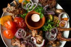 Big plate of grilled meat Royalty Free Stock Photos