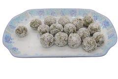 A big plate of Matcha Glutinous Rice Balls stock images