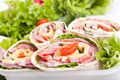 Big Plate of Wraps Royalty Free Stock Photos