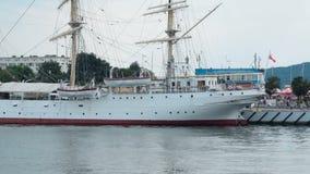 Big pleasure boats moored in Polish sea harbor, tourist transportation, sequence. Stock footage stock video