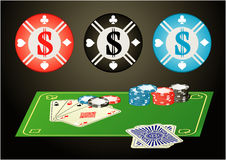 Big poker chip. Four aces with big poker chip Stock Photo