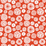 Big polka dot red sketch pattern Stock Images