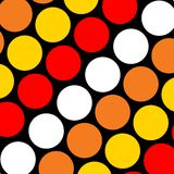 Big Polka Dots. Illustration of bright red, orange, yellow and white dots on black background stock illustration