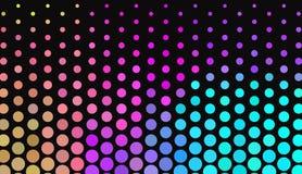 Big polka dots on dark background. Bright neon colors. Vivid gradient. Abstract geometric pattern. royalty free illustration