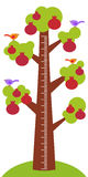 Big pomegranate tree with green leaves birds and ripe dark red garnet fruit on white background Children height meter wall sticker. Kids measure. Vector Stock Photos