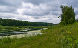 Big Pond. Cloudy sky overcast weather Stock Photography