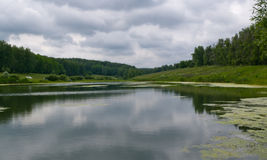 Big Pond. A reflection of the clouds in the water Royalty Free Stock Photos