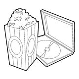 Big popcorn icon, outline style. Big popcorn icon. Outline illustration of big popcorn vector icon for web Royalty Free Stock Image