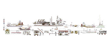 Big port illustration, city collection. Transport cargo concept Royalty Free Stock Photography