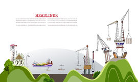 Big port illustration, city collection Royalty Free Stock Photo