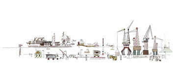 Big port illustration, city collection Royalty Free Stock Image