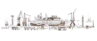 Big port illustration, city collection. Transport cargo concept Stock Images