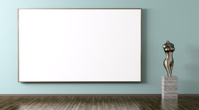Big poster and statuette interior background 3d rendering Stock Photos