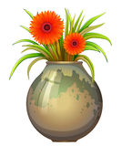A big pot with a flowering plant Royalty Free Stock Image