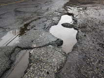 Big pothole in road Royalty Free Stock Photos