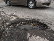 Big pothole in road Royalty Free Stock Photo