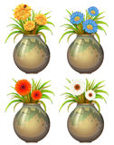 Big pots with flowers Royalty Free Stock Images